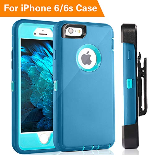 iPhone 6 Case, FOGEEK Heavy Duty Protective Combo Defender 360 Degree Rotary Belt Clip & Kickstand Case Cover Compatible for iPhone 6/6S (NOT Plus) (Baby Blue)