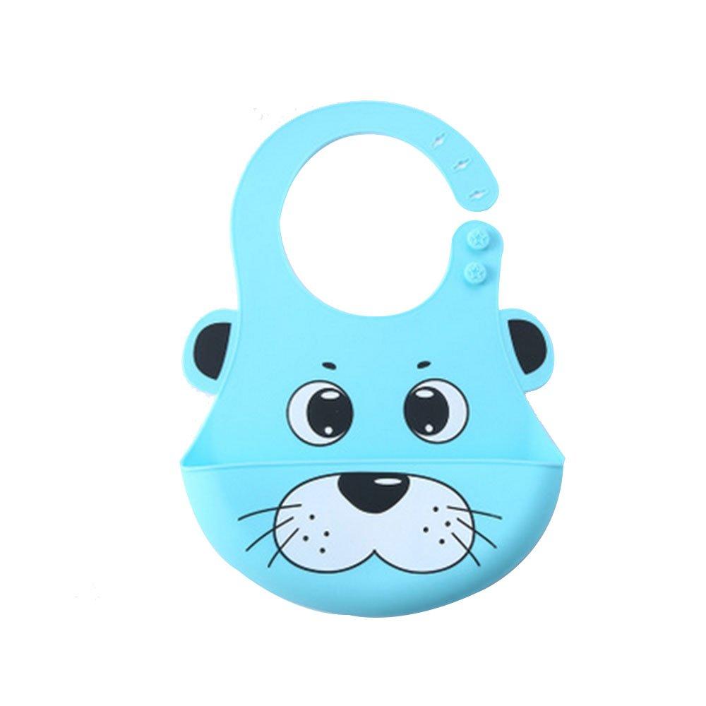 Baby Bavoir, aa-isuper souple étanche Bavoir en silicone sans BPA avec tour de cou réglable pour garçon et fille pour bébé de 6à 36mois Bleu clair (chien)