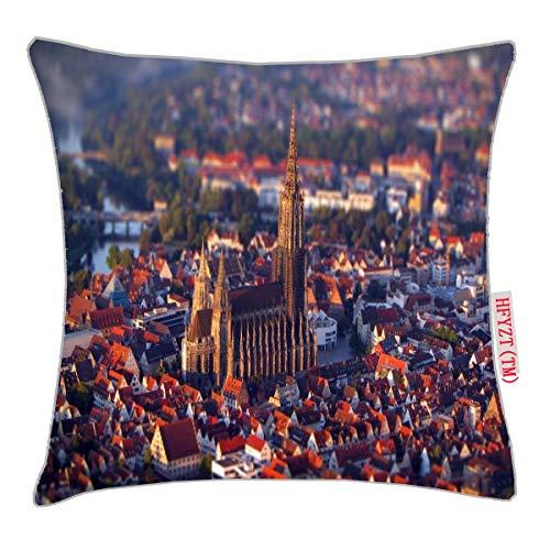 HFYZT ULM Minster, Germany, Gothic Architecture Standard Throw Pillowcase 18X18 Inch ()