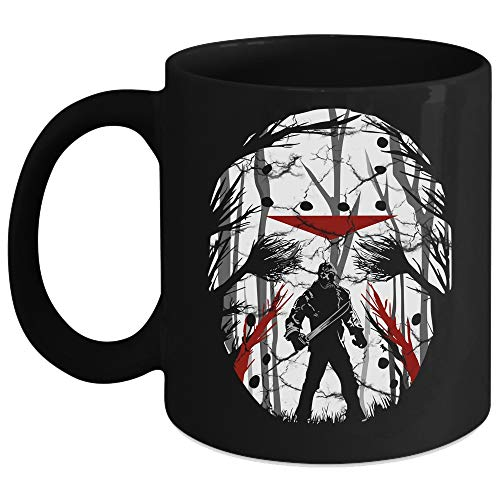 The Masks Of Jason Voorhees Mug, Friday The 13th Cup, Honor Night Mug (Coffee Mug 11 Oz - Black) -