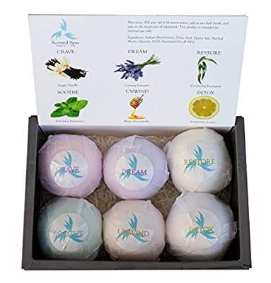 Large and Lush Luxury Bath Bombs; Set of 6 - 5.3oz (150g) Bombs - Extra Big - Gift Set For Valentine's Day, Mother's Day, Weddings, Birthdays, New Year's