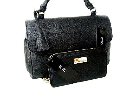 New BCBG Paris Purse Satchel Crossbody Hand Bag Black Tote & Wallet 2 Piece Matching Set (Bcbg Black Bag)