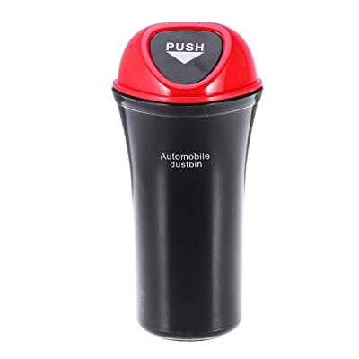 VORCOOL Car Trash Can Car Vehicle Garbage Trash Can Automotive Garbage Cup Holder Bin with Hook Small, Red: Automotive