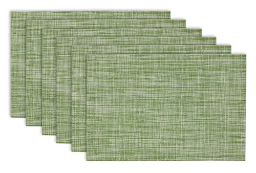 "DII Everyday, Easy to Clean Indoor/Outdoor Woven Vinyl 13x19"" Multi Color Crosshatched Placemats, Fig Green, Set of 6 -  - placemats, kitchen-dining-room-table-linens, kitchen-dining-room - 51pOlOXy2kL -"