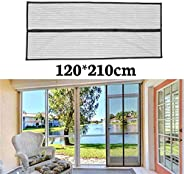 JINWEIH Printed Electromagnetic Screen Door, Heavy-Duty Pa 5 Sizes Black Polyester Mosquito-Proof Moths Screen