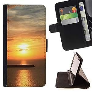 Momo Phone Case / Flip Funda de Cuero Case Cover - Puesta de sol Mar Beautiful Nature 24 - Samsung Galaxy J1 J100