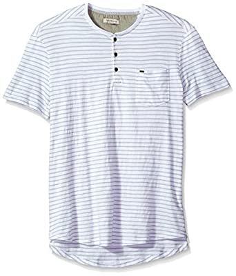 Calvin Klein Jeans Men's Short Sleeve Washed Stripe Henley Shirt