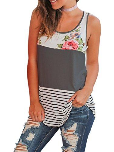 Walant Women's Casual Loose Tank Top Striped Floral Print Sleeveless - Sleeveless Shirt Print Floral