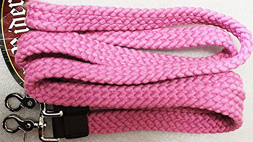 PRORIDER Roping Knotted Horse Tack Western Barrel Reins Cotton Braided Pink 60748