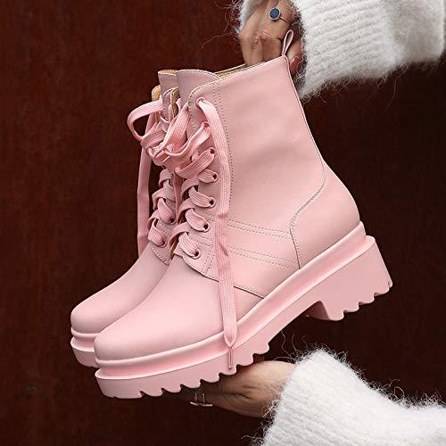 Læder Nye Blonde Pink 2018 Hvid Støvler Tsnmnb Martin Pink Støvler Afslappet Kvinde Hæl Med Støvle Tykke Medium Side qp55v6Z