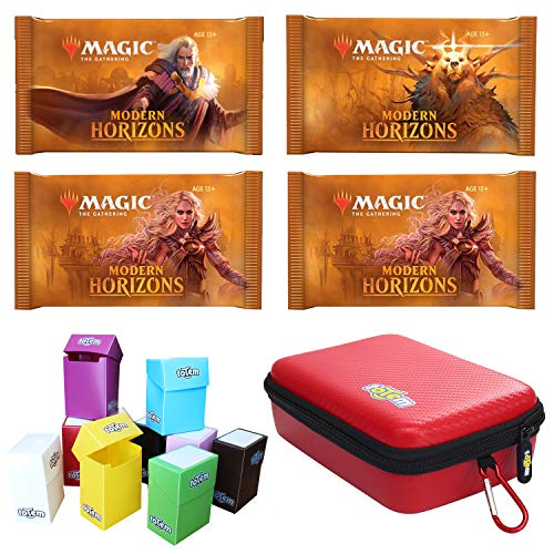 Totem World 4 Booster Packs of Magic The Gathering Modern Horizons with a Totem Red Zipper Card Case and Deck Box - Four Packs for MH1 Booster Draft Lot (Draft Deck Box)