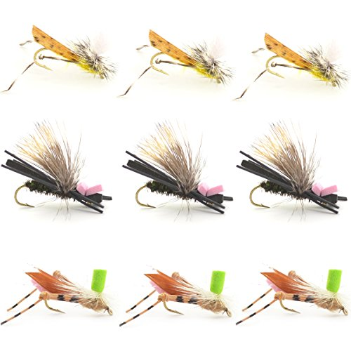 (Dropper Hopper Grasshopper Trout Fly Fishing Flies Assortment Foam Body - 9 Flies 3 Patterns Hook Size 10 - Trout Fly Collection)