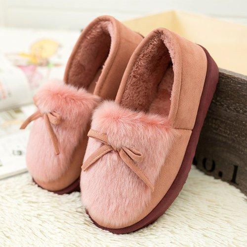 Y-Hui inverno pantofole di cotone nelle femmine di arredo casa pantofole caldi scarpe antiscivolo Fondazione morbido,39 (codice standard),Rosa