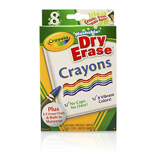 Crayola Washable Dry-Erase Crayons, 8 Classic Crayola Colors with Built In Sharpener & E-Z Erase Cloth Non-Toxic Art Tools for Kids & Toddlers 3 & Up, Easily Wipes Off Any Dry Erase Surface