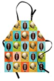 Lunarable Football Apron, Colorful Squares Mosaic Pattern of Protective Equipment and Balls College Activity, Unisex Kitchen Bib Apron with Adjustable Neck for Cooking Baking Gardening, Multicolor