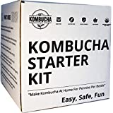 "Organic Kombucha Starter Kit, Stop Buying Store Bought Kombucha Tea And Start Making As Much As You Want! 6.5"" Organic Scoby, Largest Culture In North America For 9 Straight Years, 5 Gallon Tea Supply Makes 80 Bottles of Kombucha, 180 Day Guarantee !"