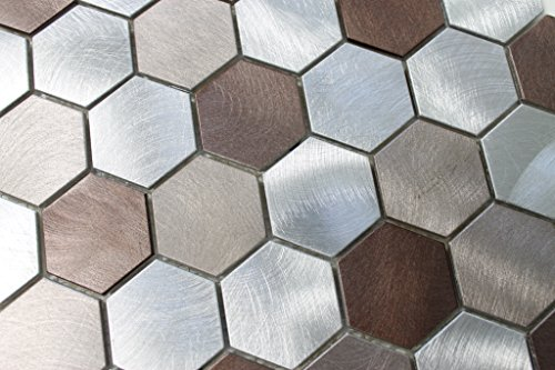 10 Square Feet - Casablanca Aluminum Metal Hexagon Mosaic Tiles