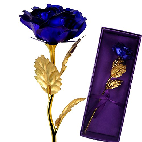 Aimeio 24K Gold Plated Foil Rose Flower Creative Thanks Mother's Day Birthday Gift with Luxury Giftbox (Blue)