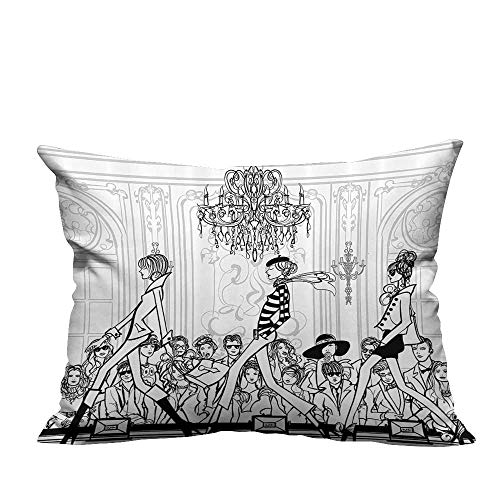 alsohome Print Bed Pillowcases Fashi with Catwalk Mannequins and Audience Supermodel Human Crowd Ratio Washable and Hypoallergenic 12x16 inch(Double-Sided (Best Only Mannequins® Maternity Pillows)