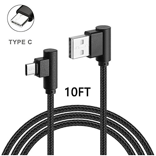 USB Type C Cable, CTREEY [10ft/3m] Right Angle 90 Degree Nylon Braided USB Type A to C Fast Charger for Galaxy S8, S8 Plus, ZTE Zmax Pro Z981, Google Pixel/Pixel XL, Nexus 6p, LG G6 (10ft Black)