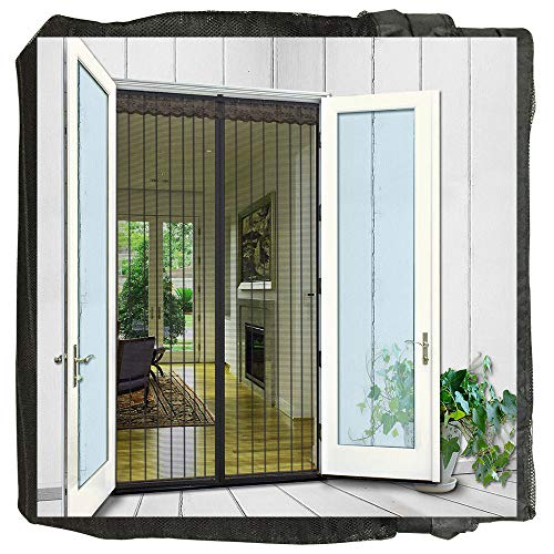- N-Green Magnetic Screen Door Heavy Duty Mesh Curtain with Full Frame Hook and Loop and Powerful Magnets That Snap Shut Automatically (36