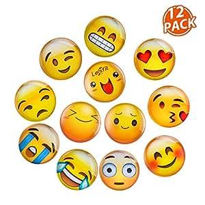 Lesfit Emoji Imanes, 12 Pieza Imanes Frigorifico Divertidos de Cristal 3D para el Refrigerador/Pizarras Blancas (1.18 Pulgada)