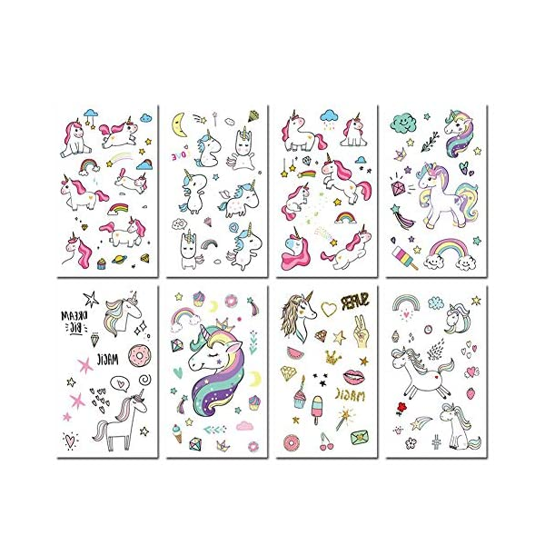 Unicorn Temporary Tattoos for Kids Birthday Party, Waterproof Unicorn Tattoo Stencil Unicorn Party Supplies 16 Sheets, 288 Tattoos 6