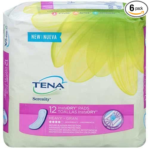 Amazon.com: Tena Serenity InstaDry Heavy Absorbency Pads 12 ct Pack - 6 per case.: Health & Personal Care