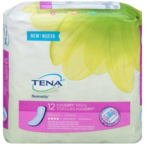 Tena Serenity InstaDry Heavy Absorbency Pads 12 ct Pack -- 6 per case.