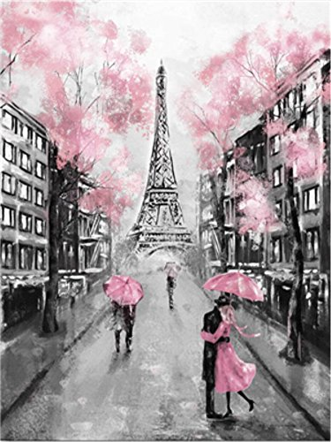 (YEESAM ART New DIY Paint by Number Kits for Adults Kids Beginner - Eiffel Tower Paris France Romance Romantic Street Love Lovers 16x20 inch Linen Canvas (Eiffel Tower, with Frame))