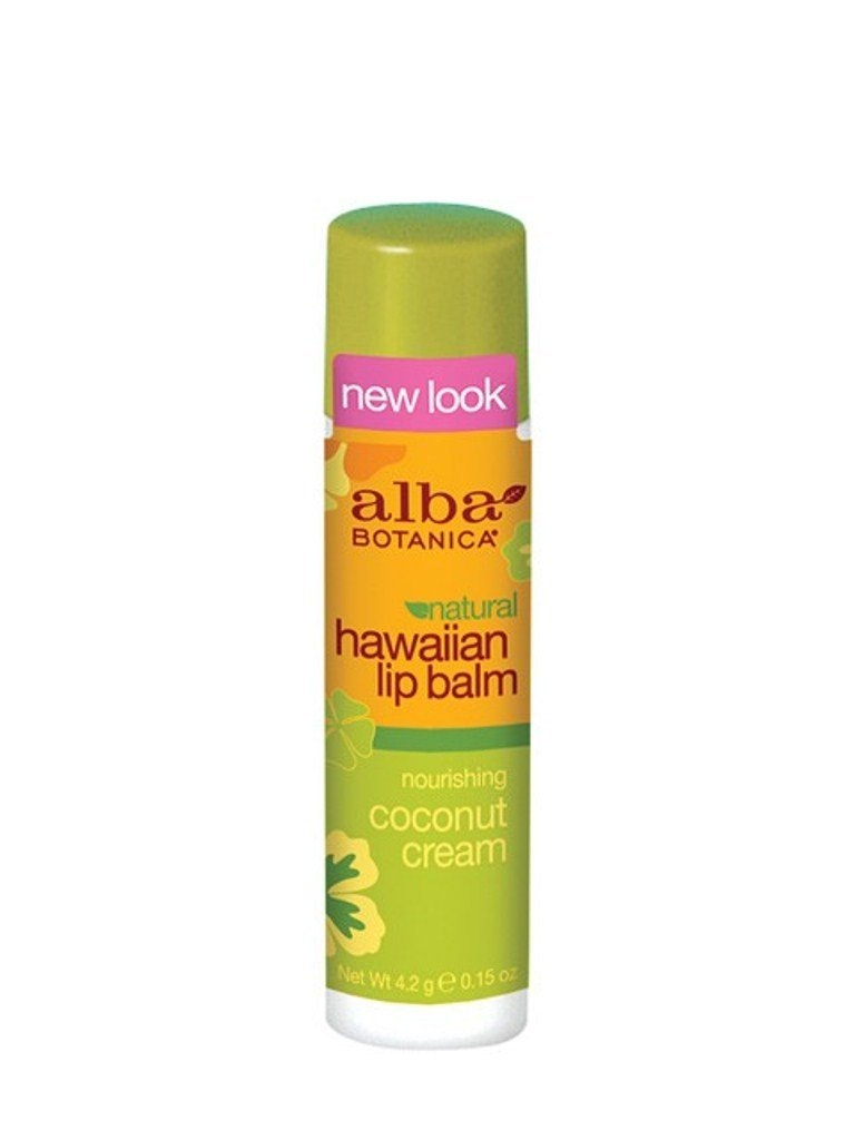 Alba Botanica Nourishing Coconut Cream Hawaiian Lip Balm, 0.15 Ounce Tubes (Pack of 6)
