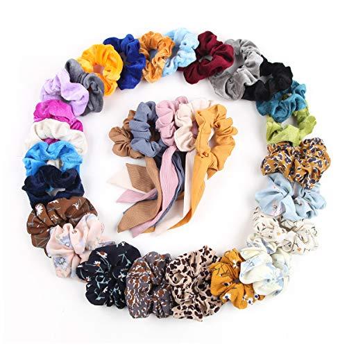 - Hair Scrunchies, 15 Pcs Velvet Elastics Bobbles Hair Bands, 10 Pcs Chiffon Flowers Elastic Hair Bands, 5 Pcs Ribbon Scrunchy Hair Ties Ponytail Holder Hair Accessories for Girl Women, 30 Colors