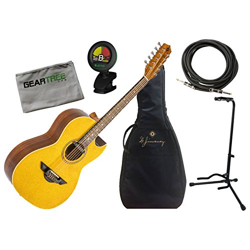 - H Jimenez Bajo Quinto LBQ1EGT Gold Sparkle Acoustic Electric w/Gig Bag, Cloth,
