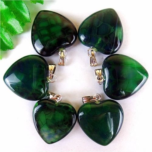 Green Veins Agate - Gozebra(TM) 6Pcs Green & Black Dragon Veins Agate Love Heart Pendant Bead 23207mm HH413