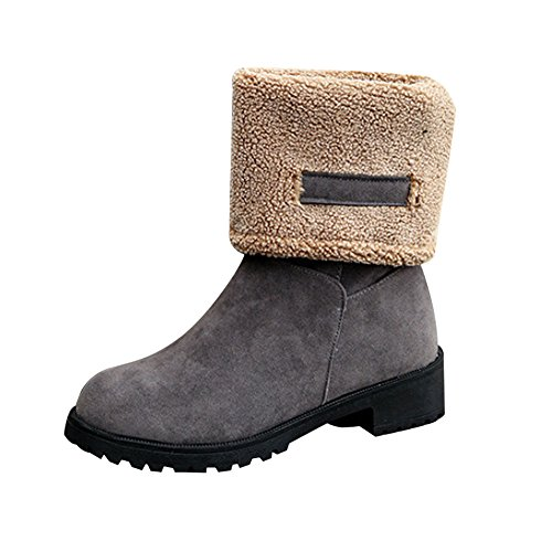 Women Fashion Boots,FTXJ Ladies Cool Wide Calf Soft Fur Inner Tall Riding Boot Gray