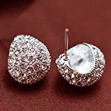 Iumer Vintage Full Crystal Crescent Stud Earrings Silver Color Shining Stud
