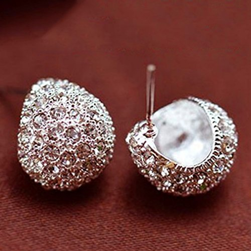 Iumer Vintage Full Crystal Crescent Stud Earrings Silver Color Shining Stud by IumerIU (Image #1)
