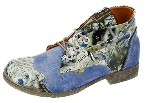 TMA Damenschuhe Boots Halbschuhe Stiefeletten Echtleder Freizeitschuhe 5166 Blau