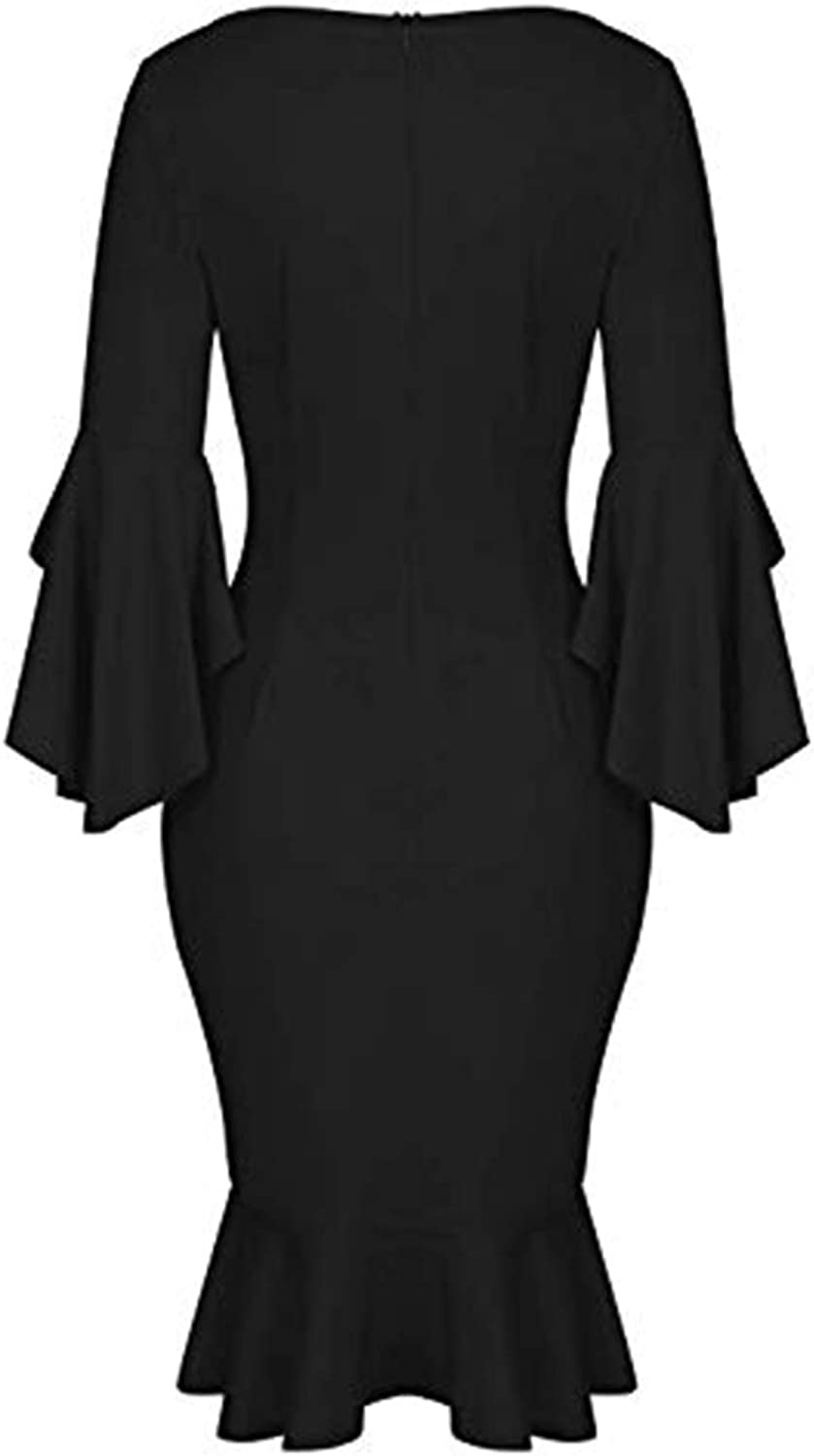 Jacansi Womens Ruffle Bell Sleeve Square Neck Knee Length Cocktail Party Dress S-2XL
