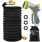 #LightningDeal Acepstar 100ft Expandable Garden Hose, Strongest Expandable Water Hose with Double Latex Core, Solid Brass Fittings, Extra Strength Fabric, Flexible Expanding Hose with 8 Function Spray Nozzle