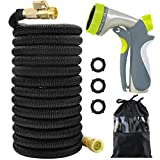 Acepstar 100ft Expandable Garden Hose, Strongest Expandable Water Hose with Double Latex Core, Solid Brass Fittings, Extra Strength Fabric, Flexible Expanding Hose with 8 Function Spray Nozzle