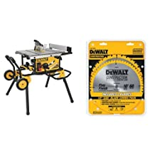 DEWALT DWE7491RS 10-Inch Jobsite Table Saw with 32-1/2-Inch Rip Capacity and Rolling Stand & DEWALT DW3106P5 60-Tooth Crosscutting and 32-Tooth General Purpose 10-Inch Saw Blade Combo Pack
