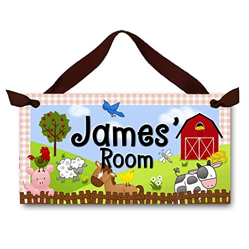 Toad and Lily Farm Animal Childrens Bedroom Nursery Personalized Name DOOR SIGN Wall Art Plaque DS0031 by Toad and Lily