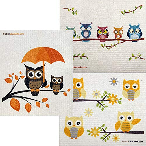 Mixed Owls Set of 3 Cloths (One of Each Design) Swedish Dishcloths | ECO Friendly Absorbent Cleaning Cloth | Reusable Cleaning Wipes ()