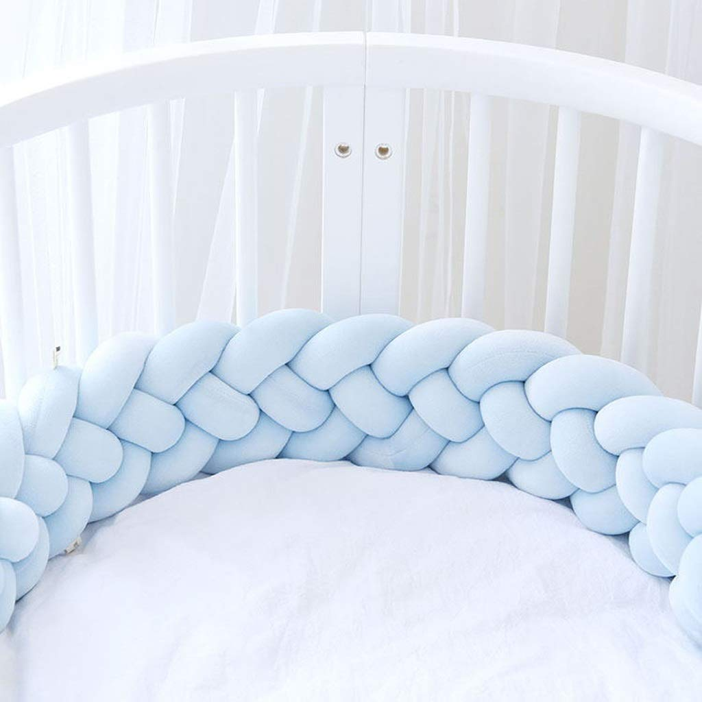 VAIY Cot Bumper Braid Pillow Length Nursery Decorations Braided Bumper for Crib Nursery (Color : Light Blue, Size : 300cm) by VAIY