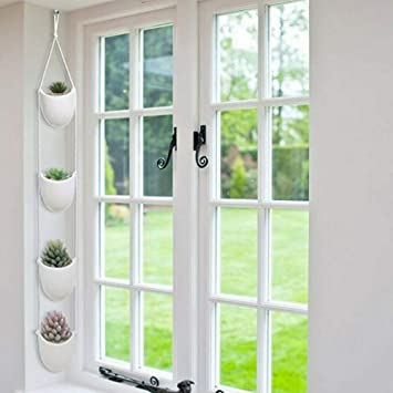 4 Piece Modern Ceramic Hanging Planters For Indoor Plants Outdoor