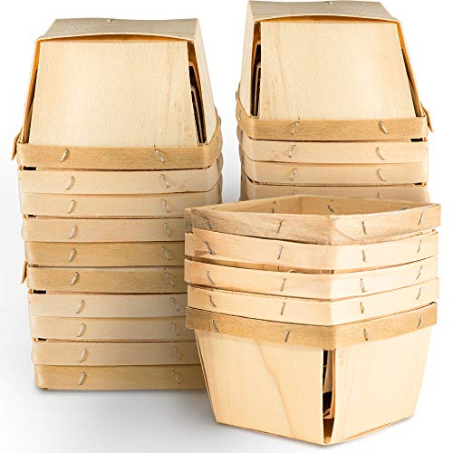 One Pint Wooden Berry Baskets (25 Pack); for Picking Fruit or Arts, Crafts and Decor; 4