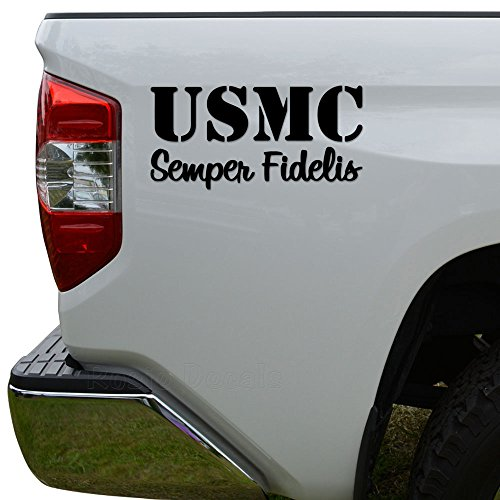 Car Sticker Motor (USMC Marines Semper Fidelis Military Die Cut Vinyl Decal Sticker For Car Truck Motorcycle Window Bumper Wall Decor Size- [8 inch/20 cm] Wide Color- Gloss Black)