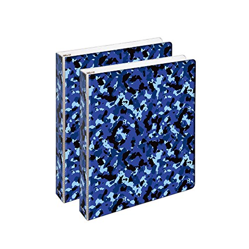 COMIX 2 Pack Letter Size, Heavy Duty Premium Designer 3 Round Ring Binder 1 Inch, (A2134) Back to School/Campus (Camouflage Navy Blue) (Big Camo Binder)