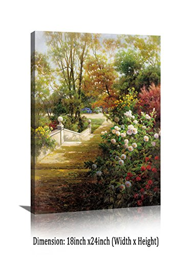 Scenery Oil Painting - YPY Vintage Flower Canvas Wall Art Colorful Butterfly Garden Scenery Landscape oil Painting Prints for Rest Room Decoration (D, 18x24in)